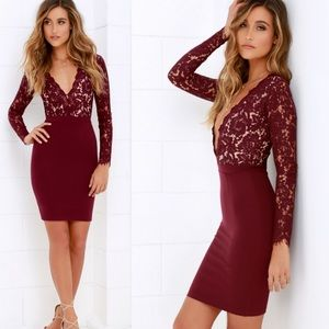Lulu's | Swooner Or Later Burgundy Lace Dress L